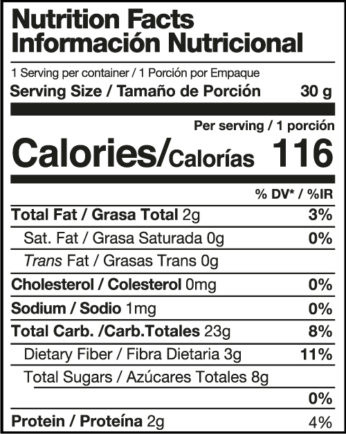 Nutritional facts sheet